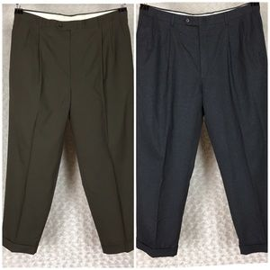 Lot of Two Dress Pants Pleated And Cuffed Sz 36